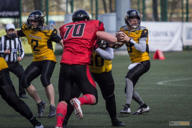Seahawks Gdynia- Wroclaw Outlaws stock photo Jakub Woźniak Tricity News-14