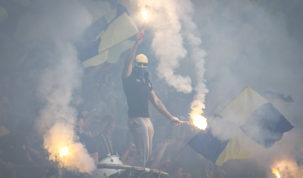 Arka Gdynia pyrotechnics, Photo: Jakub Wozniak/Tricity News