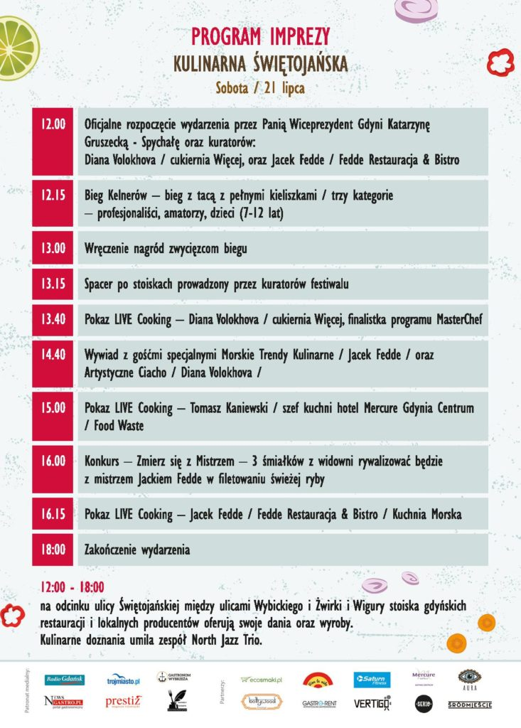 Culinary Swietojanska Program (in Polish), source: Organizers